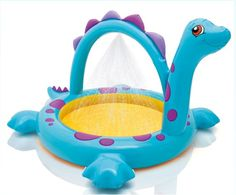 Intex Dino Spray Pool, X X for Ages : perfect for a childs birthday party. cool down after a hot day digging for dino bones! Baby Pool, Kid Pool, Baby Swimming, Swimming Pools, Portable Bathtub, Lake Toys, Family Pool, Intex Pool, Pool Water