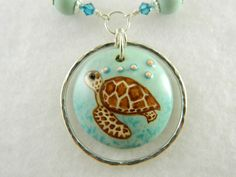 Sea turtle necklace, handmade turtle focal bead with sterling silver | Lundela - Jewelry on ArtFire