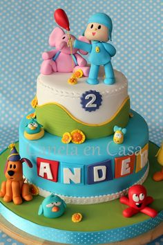 21 Great Picture of Pocoyo Birthday Cake 25th Birthday Cakes, Birthday Cake Girls, 2nd Birthday, Birthday Parties, Baby Cakes, Cake Pocoyo, Fondant Cakes, Cupcake Cakes, Pinterest Cake