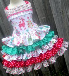 Custom Boutique 5 Ruffle Christmas Dress RTS Nordic Reindeer Fabric Girl 3 4 5 Ready to Ship Little Girl Outfits, Little Girl Dresses, Girls Dresses, Cotton Frocks For Kids, Sundress Pattern, Cute Kids Fashion, Kids Apron, Cutwork, Baby Dress