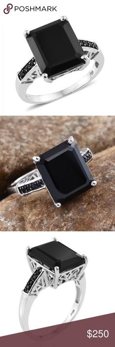 Boho Thai Black Spinel Platinum SS Ring Size 8 New Retail $419.99 Artisan Thai Black Spinel Platinum Over Sterling Silver Ring (Size 8.0) TGW 11.71 Black spinel stone is a rare gemstone made up of hard vitreous magnesium aluminium oxide or magnesium aluminate. Specifically, black spinel is one of the rarest minerals that comes from the Spinel family and is a true gemstone often confused with black tourmaline. Jewelry lovers earrings bracelets necklaces and rings. Business work casual attire…
