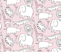 Lullaby Jungle (pink) - leanne - Spoonflower