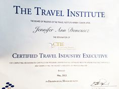 Certified Travel Industry Executive, yes the MBA of travel degrees.  Be confident using a #travel pro!