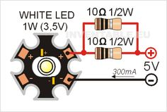 Circuit to power a power led with two 10 ohms resistors Source by enisozek Led Projects, Electrical Projects, Arduino Projects, Electronics Projects, Electronic Circuit Projects, Electronic Engineering, Electrical Engineering, Led Diy, Simple Electronics