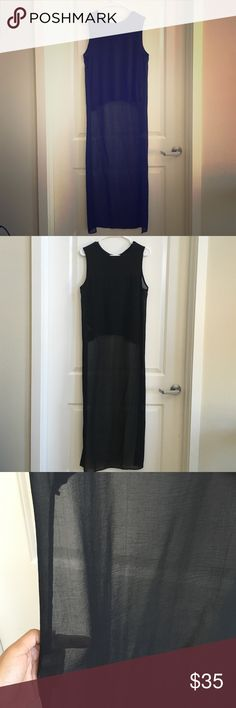 Sleeveless Black Top with Short Front & Long Back Awesome black top with short front and long chiffon back. Love wearing this with skinny jeans and some sexy heels! one size. Tops