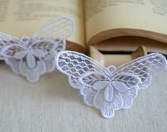 4 pcs white organza Lace AppliquesEmbroidered by POPOLace on Etsy