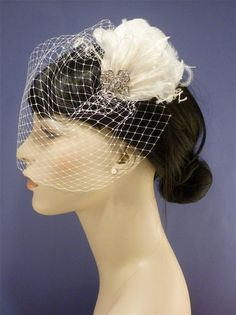 Wedding Hair Accessories, Hair Accessories, Bridal Accessories, Wedding Veil, Bridal Feather Fascinator with Birdcage Veil Set - Kate. $65.00, via Etsy.