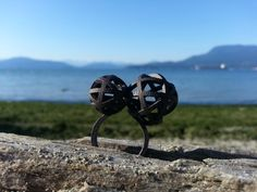 Grande anello geometrico due lune / / 3D stampato di LanaBetty