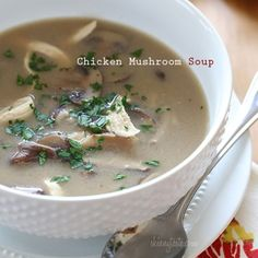 Creamy Chicken And Mushroom Soup  Rainy days and soup go hand in hand. If you're a mushroom lover like me, you'll love this simple savory soup that takes less than 30 minutes from start to finish!