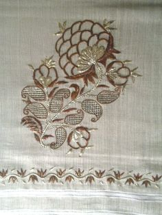 Recent embroidery in traditional Turkish style. Metal thread of different colours on linen. Techniques: 'tel sarma' & 'tel kırma', resulting in a 'two-sided embroidery' (front and rear are identical). Zardozi Embroidery, Shirt Embroidery, Hand Embroidery Designs, Ribbon Embroidery, Floral Embroidery, Embroidery Stitches, Embroidery Patterns, Machine Embroidery, Hobby Design