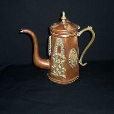 Vintage Copper & Brass Tea Pot Copper And Brass, Bronze, Copper Utensils, Japanese Tea Ceremony, Tea Pot Set, Tea Strainer, Tea Art, China Patterns, Teapots