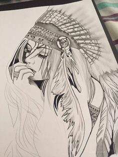 Best 12 New flowers drawns red 58 ideas Girl Drawing Sketches, Pencil Art Drawings, Cool Art Drawings, Tattoo Sketches, Tattoo Drawings, Native American Drawing, Native American Tattoos, Native Tattoos, Indian Drawing