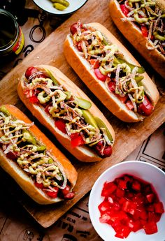 Windy City Hot Dogs with a Twist. Chicago-style hot dogs topped with celery salt seasoned fried onions! So fun and perfect for football season! @blogoverthyme