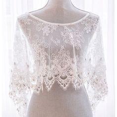 White Lace Bejeweled Bridal Wedding Poncho Stole Shrug SKU-11203020