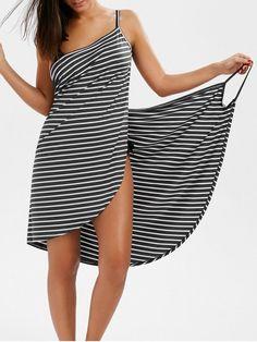 Striped Open Back Cover-ups Dress - GRAY L