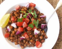 Spiced Indian Chickpeas from our Vegetarian/Vegan Mini-Cookbook -- a quick weeknight dinner with incredible flavor. You don't have to be vegetarian to love it!