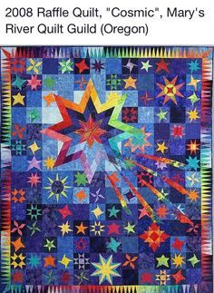 This raffle quilt for 2017 was made by members of the Marys River Quilt Guild and beautifully quilted by Jean McDaniel. Drawing for this quilt will be held on October 2017 at the monthly meeting. Lone Star Quilt, Star Quilts, Scrappy Quilts, Jaybird Quilts, Quilt Baby, Quilting Projects, Quilting Designs, Quilting Ideas, Rainbow Quilt