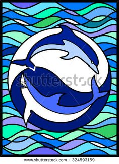 Dolphin and Shark. Eternal struggle between good and evil. Stained glass window, vertical.Can be used for flayers, banners, posters. Vector illustration.