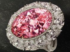 Pink diamond cocktail ring featuring a 12.85 carat natural pink diamond