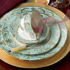 """Royal Crown Derby """"Darley Abbey"""" 5 Piece Place Setting from Bloomingdale's.  I WANT this set!"""