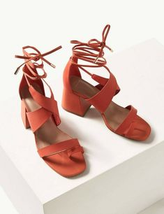 New Marks & Spencer Women's / Girls Orange Lace up shoes / Sandals Size 5  #MarksandSpencer #LaceUp