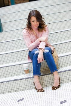 Winter Outfit Inspiration on Glitter & Gingham: Pink Cable Knit Turtleneck, Distressed Denim, Leopard Pumps