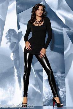 Legging noir sexy effet brillant 120D - Bas Bleu § Pantalon et vêtement pas cher - 31,80 EUR colissimo inclus