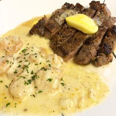 Keto Surf & Turf! Ribeye w/ butter & shrimp w/ homemade alfredo sauce! From Keto With Crystal on Instagram! #ketorecipes #keto #ketodiet #ketogenic #lowcarb #lchf #ketogenicdiet