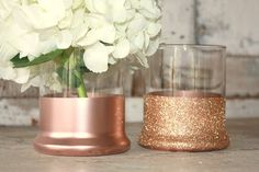 Unique rose gold vases dipped in rose gold for your wedding day! These vases have a classic cylinder shape. They are the perfect size for fresh arrangements or candles. You choose rose gold paint, or glitter...or even half and half! Set of 6. Vases measure 4 tall with a 2.75 opening. Many sets available, and many more can be made! If these are not quite the quantity or color you are looking for, please send me a convo with your requests. If you need to order multiple sets please send me a…
