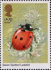 Insects 22p Stamp (1985) Coccinella septempuncata (ladybird)