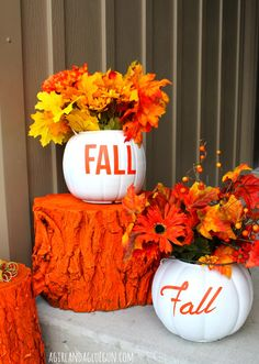 fall pumpkin planters!
