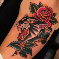 Traditional Tiger Tattoo, Traditional Tattoo Flowers, Traditional Tattoo Design, Arm Sleeve Tattoos, Leg Tattoos, Tattoos For Guys, Tatoos, American Traditional Rose, Tatuagem Old Scholl