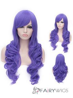 Romantic Purple Long wavy Side Bang Synthetic Wig