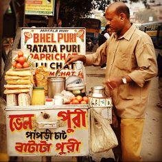 Street food in Kolkata - JHAAL MURI ... puffed rice tossed in sharpmustard oil and red chilli powder