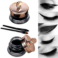 Dropship Makeup Set Long Lasting 1pcs Henna Eye Liner Gel + 1pcs Make Up Brush Waterproof Eye Tattoo Black Eyeliner Gel