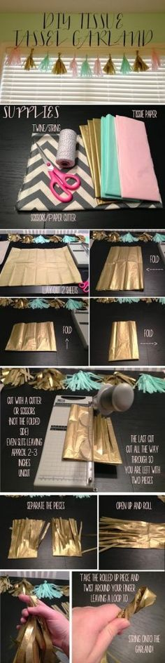 Check out how to make these easy DIY tassel garlands from tissue paper @istandarddesign