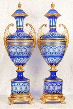 Decorative Urns Vases A Pair Of Gilt Bronze Mounted Jeweled Cobalt Blue Ground Sèvres