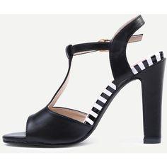 SheIn(sheinside) Black T-Strap Slingback High Heel Sandals (500 DOP) ❤ liked on Polyvore featuring shoes, sandals, black, black peep toe slingback, heeled sandals, black shoes, black heeled sandals and high heel stilettos