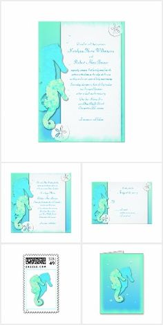 Whimsical seahorses and colors of the sea combine to make a bright sea-lover's design in this wedding invitation suite.   Tropical aqua blue and turquoise green give an underwater effect on custom stationery.  Two die cut seahorses swim together happily, and represent the couple.  Our invitations have alternate wording, with either the bride and groom inviting, or include the names of the parents.