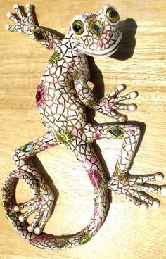 Gecko Patena & Jeweled Decorative Wall Art White Tropical wildlife #Handmade #Tropical