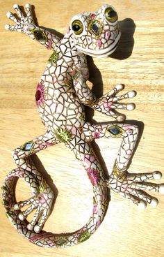 Gecko Patena & Jeweled Decorative Wall Art White Tropical wildlife #Handmade #Tropical