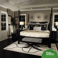 Custom Master Bedroom Design Ideas (Photos) Elegant black and white bedroom design with splashes of zebra print (the bench at the foot of the bed).Elegant black and white bedroom design with splashes of zebra print (the bench at the foot of the bed). Dream Bedroom, Home Decor Bedroom, Dark Furniture Bedroom, Bedroom Themes, Bedroom Colors, Diy Bedroom, Trendy Bedroom, Decor Room, Cream Bedroom Decor