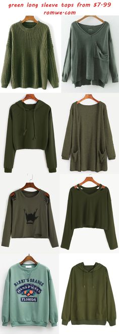 green long sleeve tops - romwe.com