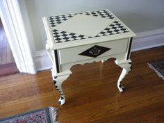 Upcycled, elegant, Harlequin occasional end table-gilded with gold metal, hand painted and detailed.. $700.00, via Etsy.