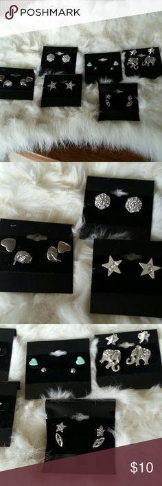 Lot of fashion jewelry stud earrings silver Listing is for 10 pairs of stud earrings. All nickel free. Starfish studs are sterling. All excellent condition.  Some brand new. All come with either metal or acrylic backs. Jewelry Earrings