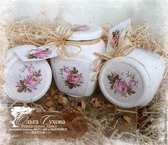 """Купить Набор баночек """"Розы райского сада"""" - белый, розовый, розы, розочки, банки, баночки"""