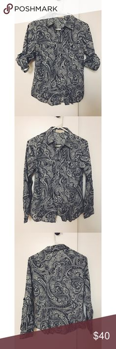 MICHAEL Michael Kors Paisley Button Up Paisley print button-up shirt with roll tab. Navy blue print. MICHAEL Michael Kors Tops Button Down Shirts