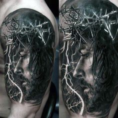 Realistic Profile Of Savage Man Tattoo On Male Shoulders