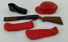 Vintage Barbie Ken Going Hunting #1409 Rifle Gun Red Hat & Socks Shoe #Mattel #ClothingShoes