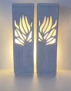 Ceramics by Ray Macro at Studiopottery.co.uk - 2016. Pair of lamps, Willow 15ins